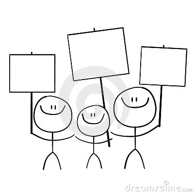 Stick Family Holding Signs