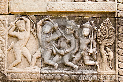 Stick Fighting Frieze, Cambodia