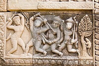 Stick Fighting Frieze, Cambodia
