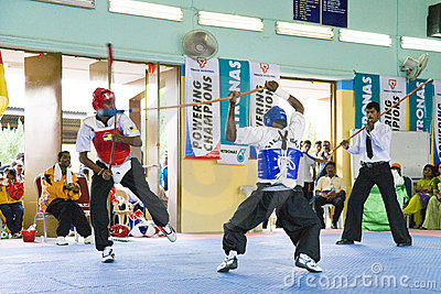 Stick Fighting (Silambam) Action Editorial Stock Image