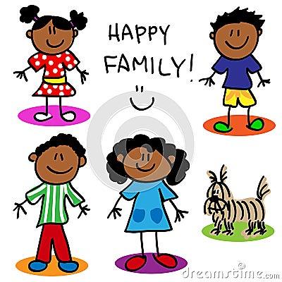 Stick figure black family