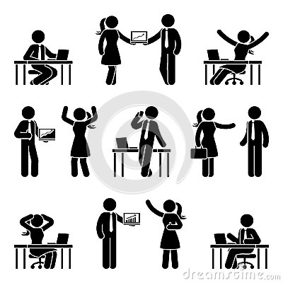 Stick figure business people icon set. Vector illustration of men and women at workplace isolated on white. Vector Illustration