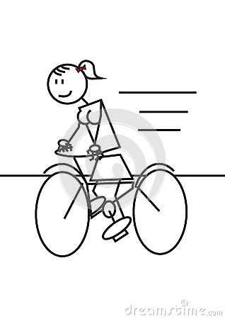 Stick Figure Cycling Female Stock Vector - Image: 42508612