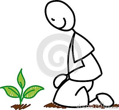 Stick figure gardener planting