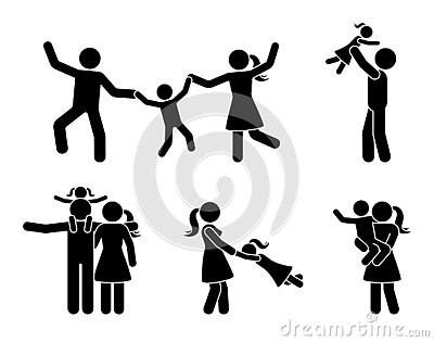 Stick figure happy family having fun icon set. Parents and children playing together pictogram. Vector Illustration