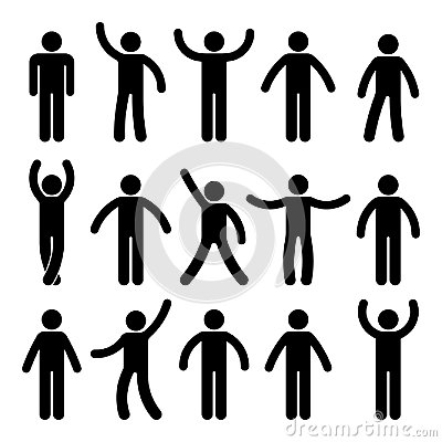Stick figure standing position. Posing person icon posture symbol sign pictogram on white. Vector Illustration