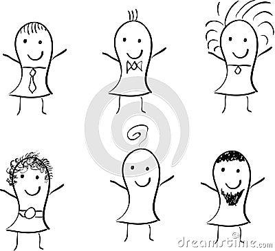 Stick figures doodle children characters