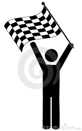 Stick man with checkered flag