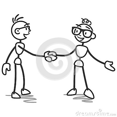 stick man stick figure handshake deal stock vector image
