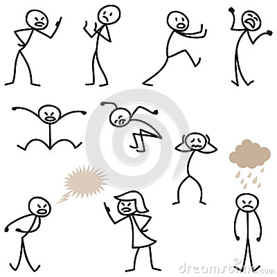 Stick Man Stick Figures Angry Bad-tempered Upset Stock ...