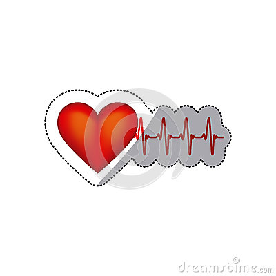 sticker heart shape with beats and signs life