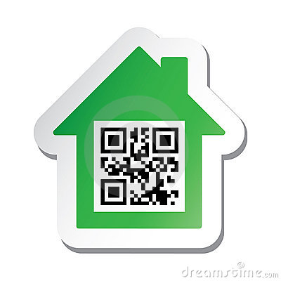 Sticker with  House for Sale  data in qr code
