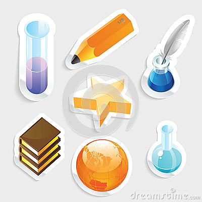 Sticker icon set for education