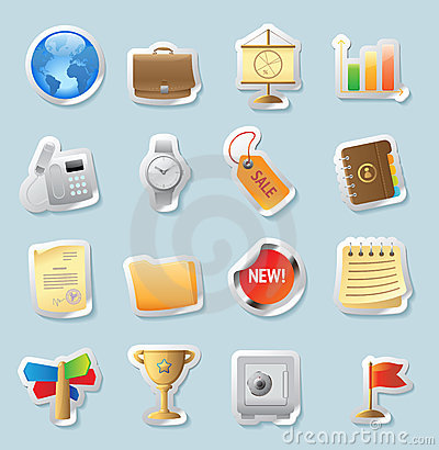 Sticker icons for business and finance