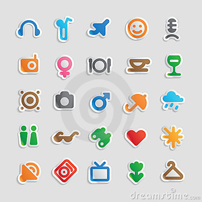 Sticker icons for entertainment