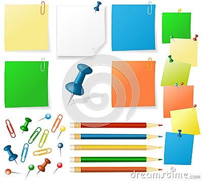 Sticker notes, pencils, pins