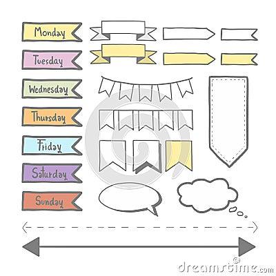 Sticker set for planner Vector Illustration