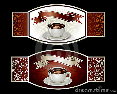 Sticker template with coffee