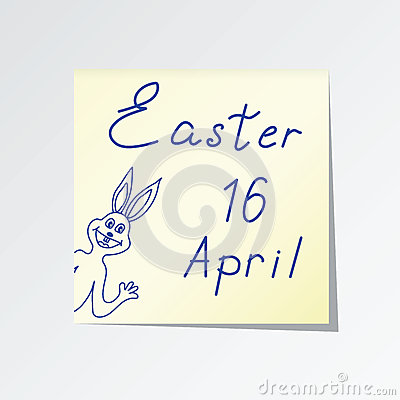 Sticker with the words Easter and Bunny. Vector Illustration