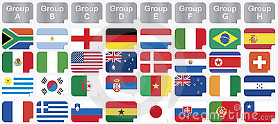 Stickers with 2010 world cup national flags