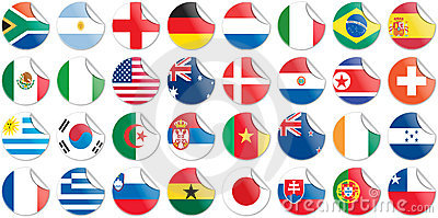 Stickers buttons of national flags of countries