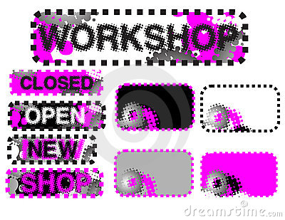 Stickers (closed, open, workshop)