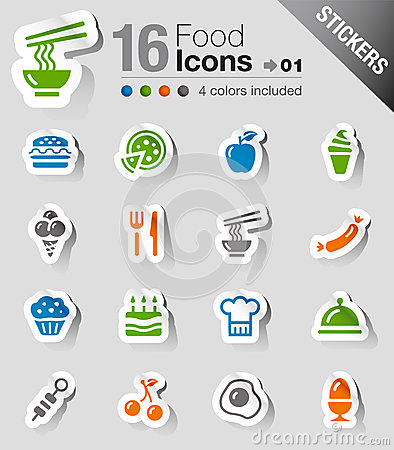 Free Stickers - Food Icons Royalty Free Stock Photos - 28501778