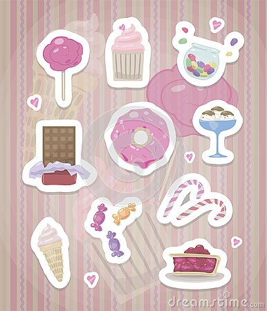 Stickers with pink cute sweets with a white outline and shadows on a striped pink background vector drawing Vector Illustration
