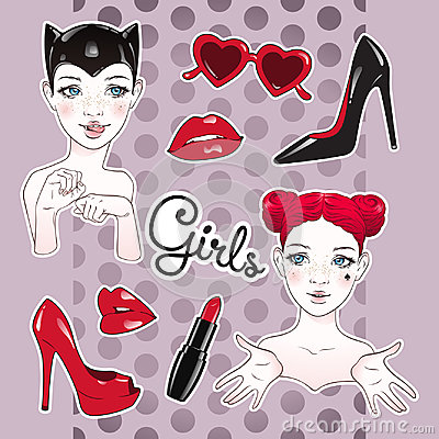 Free Stickers Set Cartoon Girls And Accessories - High Heeled Shoes, Heart Shaped Glasses, Glossy Lips And Lipstick Stock Photo - 96501440