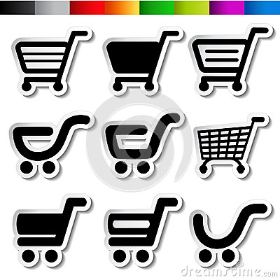 Stickers of shopping cart, trolley, item, button