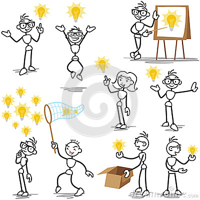 Free Stickman Light Bulb Idea, Creative Stock Photos - 39673253