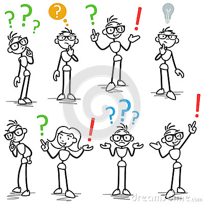 Free Stickman Question Mark Asking Pondering Royalty Free Stock Photography - 39623297