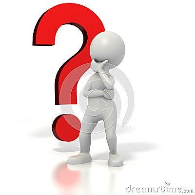 Stickman question mark thinking
