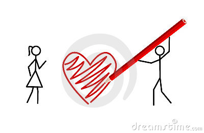 Stickman s valentine, stickmans in love (vector)