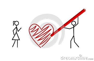 Stickman s valentine, stickmans in love (vector)