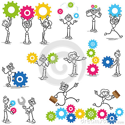 Free Stickman Stick Figure Cog Wheel Construction Engineer Stock Images - 39699814