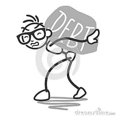 Stickman stick figure debt rock burden