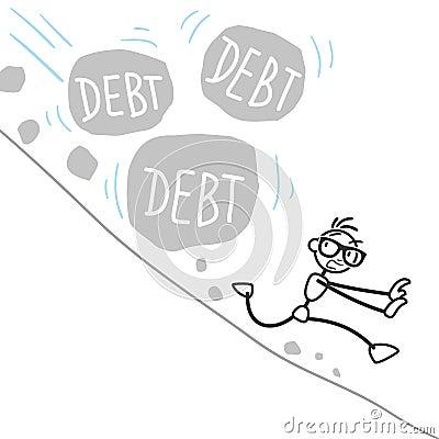Stickman stick figure debt rock landslide