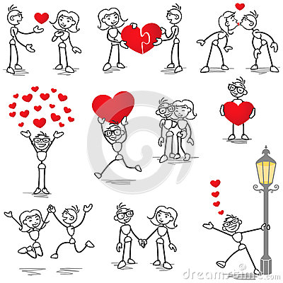 Free Stickman Stick Figure In Love Couple Heart Kiss Stock Photo - 39769400