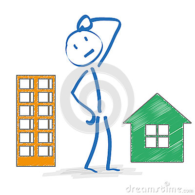 Free Stickman Thinking Apartment Or House Stock Image - 51960951