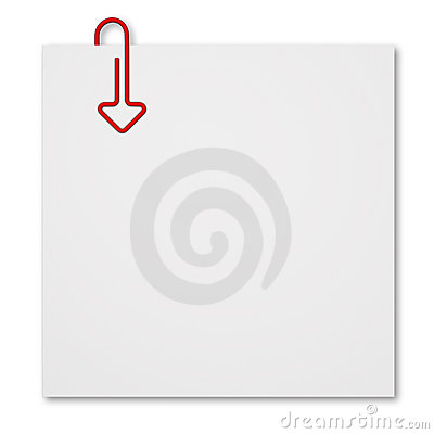 Sticky with arrow shaped paper clip