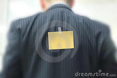 Sticky note on businessman
