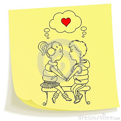 Sticky note with drawn teens couple in love