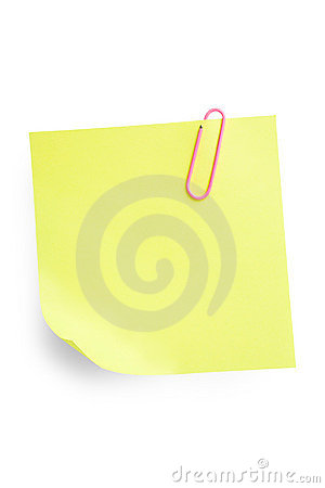 Sticky Note with Paperclip