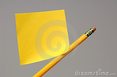 Sticky note on pencil