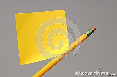Sticky note on pencil