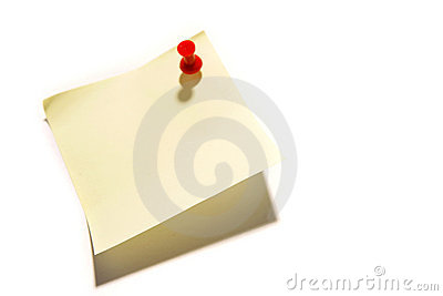 Sticky note with a push pin