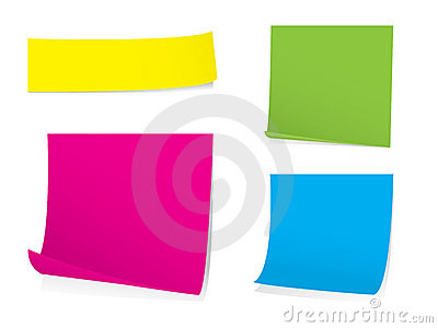 Sticky note set with shadows