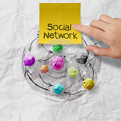 Sticky note social network on crumpled paper background