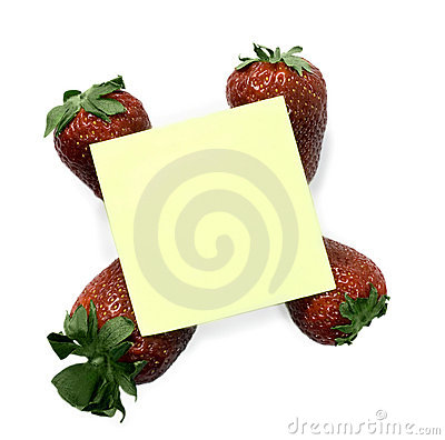 Sticky note with strawberries